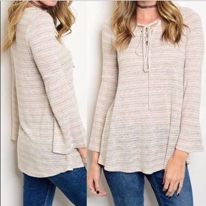 Tops - ‼️CCO‼️BOGO‼️NWT Boho Lace Up Bell Sleeves Top